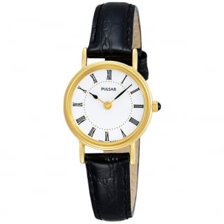 Ladies Classic Black Leather Strap with Gold Watch