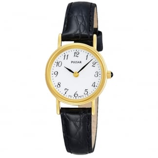 Ladies Classic Gold and Black Leather Strap Watch