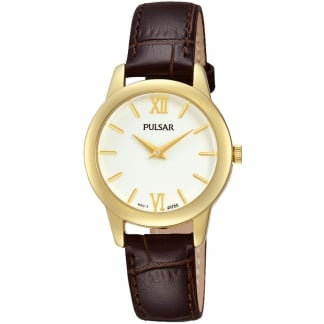 Ladies Gold and Brown Leather Classic Watch PRW020X1