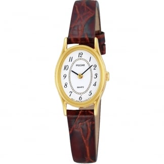 Ladies Gold PVD Brown Leather Strap Watch PPGD68X1