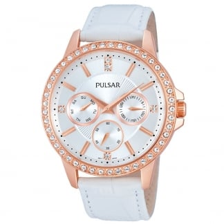 Ladies Rose Gold with White Leather Multifunction Watch