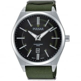 Men's Green Fabric Strap Sport Watch PS9357X1