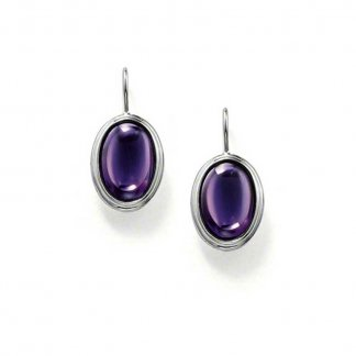 Purple Oval CZ Dropper Earrings