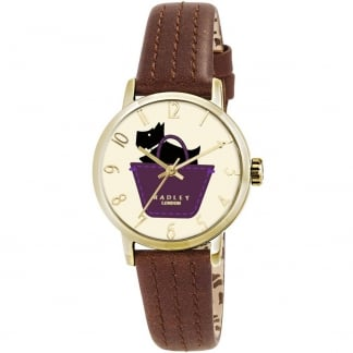 Ladies Border Brown Strap Watch RY2290