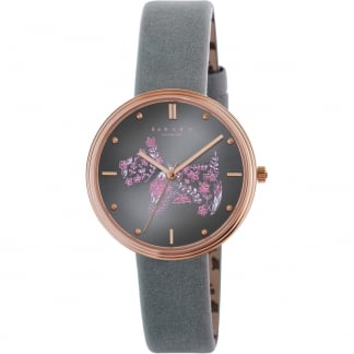 Ladies 'Rosemary Gardens' Grey Leather Strap Watch RY2338