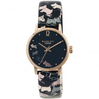 Ladies 'Doodle Dog' Leather Strap Watch RY2272