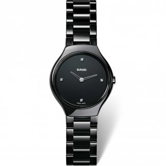 Ladies Black Ceramic True Thinline Jubile Watch