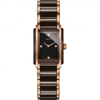 Ladies Rose Integral Diamond Chocolate Ceramic Watch