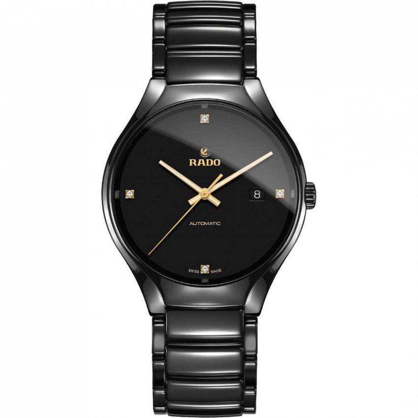 RADO Men's True Automatic Diamond-Set Ceramic Bracelet Watch R27056712