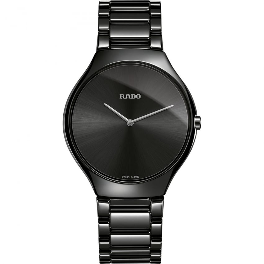 RADO Men's True Thinline Quartz Black High-Tech Ceramic Watch R27741182
