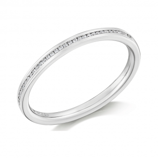 Platinum Channel Set Half Eternity Ring 0.07ct