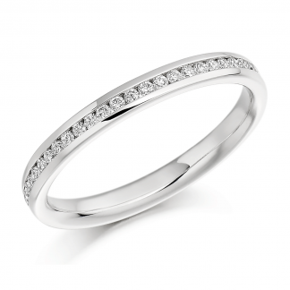 Platinum Channel Set Half Eternity Ring 0.15ct