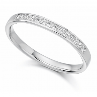 Platinum Princess Cut Half Eternity Ring 0.20ct