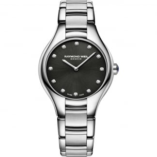 Ladies Noemia Diamond Set Black Dial Watch