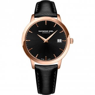 Ladies Rose Gold Plated Toccata Black Strap Watch