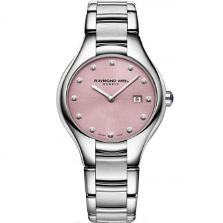 Ladies 32MM Salmon Pink Dial Noemia Diamond Watch 5132-ST-80081