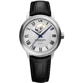 Men's Automatic Leather Strap Part Skeleton Maestro Watch