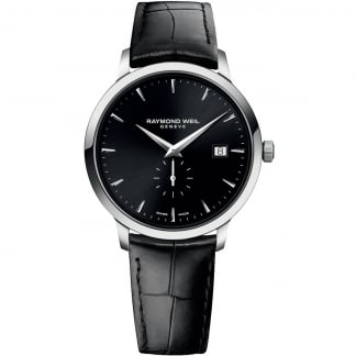 Men's Black Leather Strap Toccata Cuff Watch