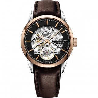 ec344a1197f Raymond Weil Men s Maestro Moonphase Blue Leather Automatic Watch ...
