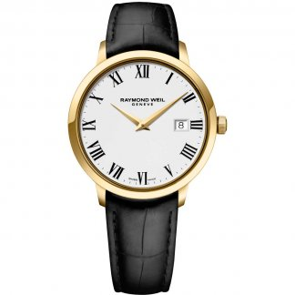Men's Gold Tone Toccata Black Leather Watch