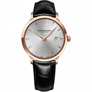 Men's Rose Tone Toccata Watch On Leather Strap