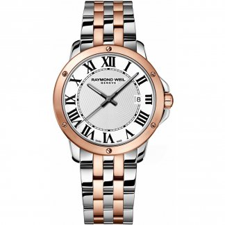 Men's Steel & Rose Gold Tango Watch with Roman Numerals