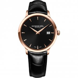 Men's Rose Gold Toccata Black Leather Watch