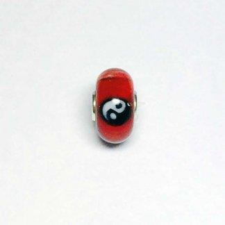 Red Yin Yang Unique Bead UNIQUE157