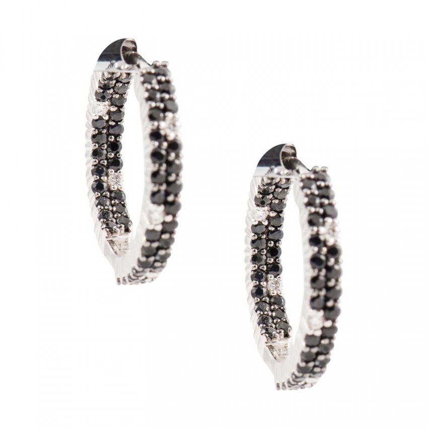 Roberto Coin Black & White Diamond Hoop Earrings ADV777EA0045