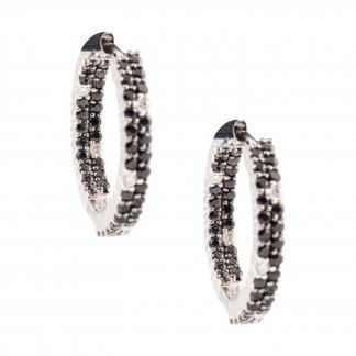 Black & White Diamond Hoop Earrings ADV777EA0045