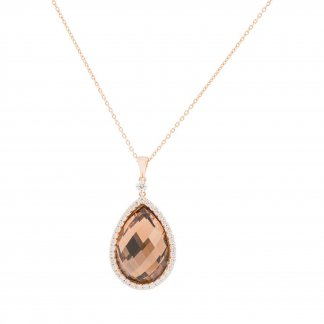 Diamond & Pear-Shaped Smokey Quartz Pendant ADV888CL0979