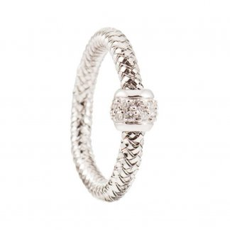 Mini Primavera White Gold Diamond Mesh Ring