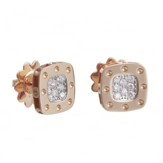 Petit Pois Moi Rose Gold Diamond Set Square Studs ADR777EA0520R
