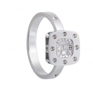 Petit Pois Moi White Gold Diamond Set Square Ring ADR777RI0514W