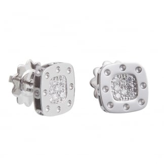 Petit Pois Moi White Gold Diamond Set Square Studs ADR777EA0520W