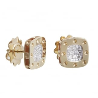 Petit Pois Moi Yellow Gold Diamond Set Square Studs ADR777EA0520Y