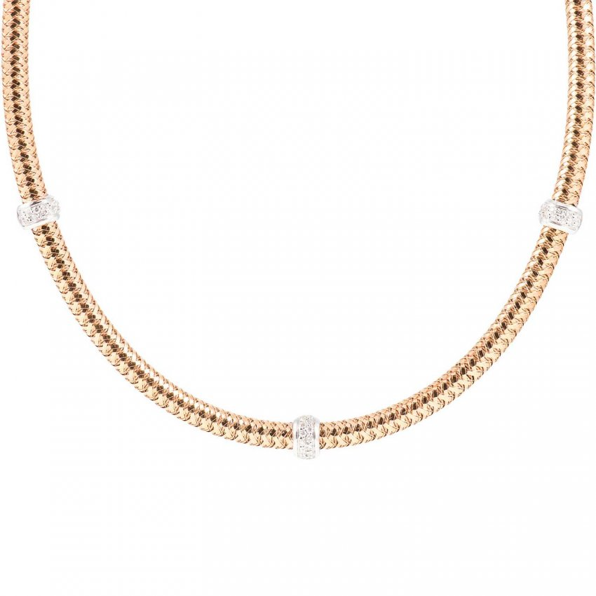 Roberto Coin Primavera Rose Gold Mesh Diamond Necklace ADR555CL2453