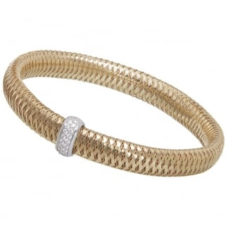 Primavera Yellow Gold Bangle with Diamond Detail ADR555BR2387Y