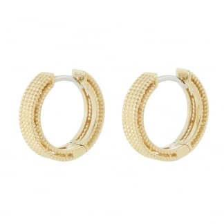 Symphony Yellow Gold Millgrain Detail Hoop Earrings AR777EA0820