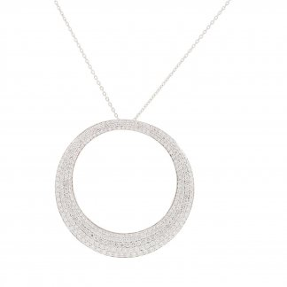 White Gold Pave Diamond Circle Pendant ADR888CL0927