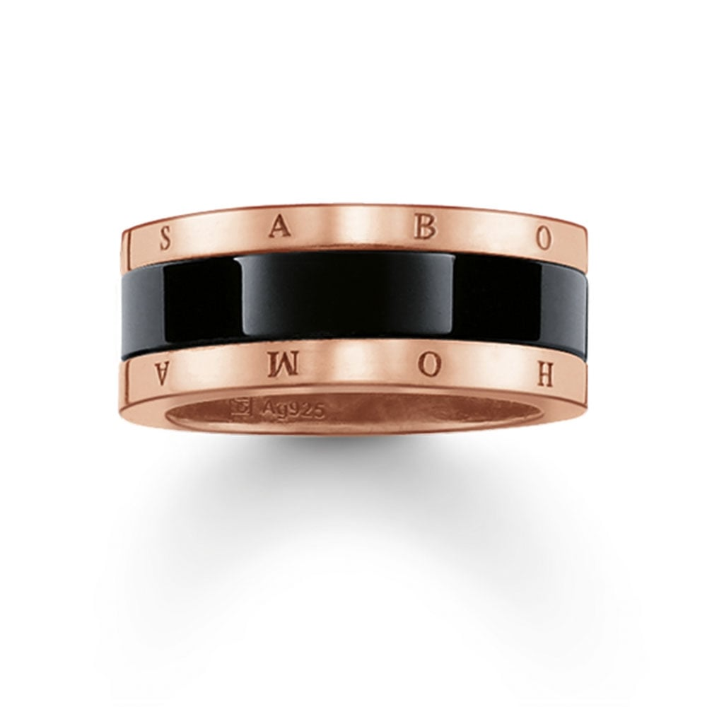 Thomas Sabo Rose Gold and Black Ceramic Ring Jewellery from