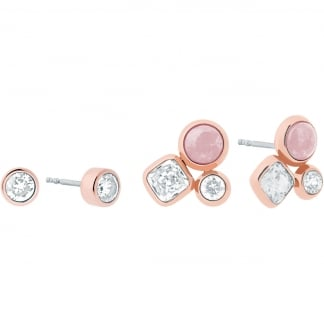 Rose Gold and Pink Stone Set Earring Studs