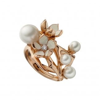 Rose Gold Cherry Blossom Diamonds & Pearls Ring SLS303RG