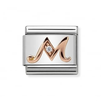 Rose Gold Classic Initial 'M' Charm