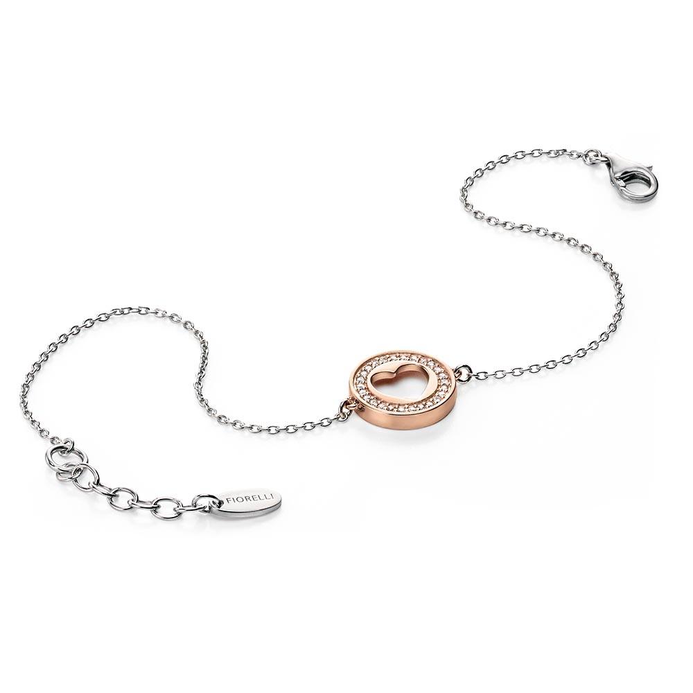 Rose Gold Cut Out CZ Heart Silver Bracelet 04e3da6596