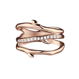 Rose Gold Diamond Large Cherry Branch Ring