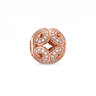 Rose Gold Glittering Wave Karma Bead