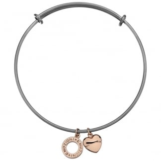 Rose Gold Heart Charm Oxidised Silver Bangle