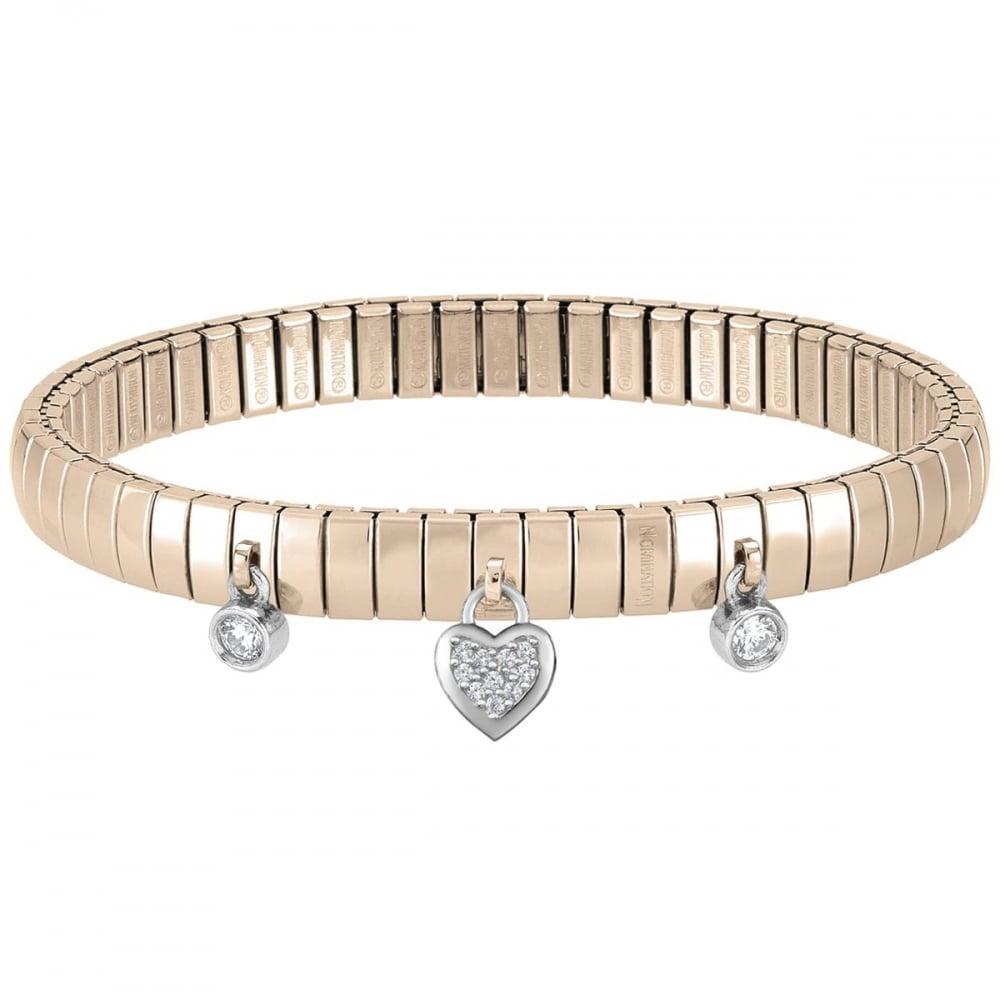 Nomination Rose Gold Heart   Stone Set Extension Bracelet Product Code   044220 001 d8d8e562e8e0