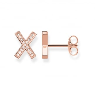 Rose Gold Large Stone Set Cross Earrings